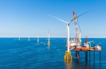 The jackup Brave Tern at work on Deepwater Wind's Block Island, R.I., turbines. Photo courtesy of Deepwater Wind.