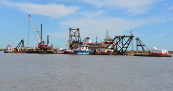 Dredging equipment at Southwest Pass, La., in February 2016. USACE photo.