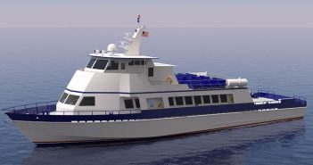 "A rendering of the 118'x27'x10'9"" crewboat-style vessel Gulfstream Shipbuilding will construct for the Department of Homeland Security."