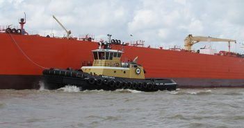 Crescent Towing's 5,500-hp, Z-drive ship escort/ship assist tugboat at work. Steiner Shipyard/Crescent Towing photo.