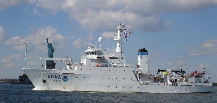 The NOAA survey vessel Thomas Jefferson in New York Harbor. NOAA photo.
