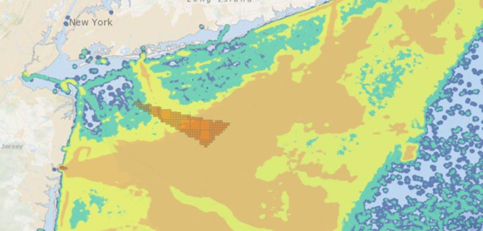 The proposed New York offshore wind energy area (dark orange triangle) and the mid-Atlantic scallop fishing grounds. National Marine Fisheries Service.