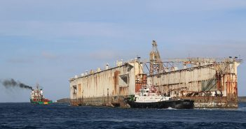 An extensive effort was required to inspect and check seaworthiness in order to relocate the floating dry dock Richland (built in 1943) from Guam to the Philippines in January 2016. U.S. Navy photo.