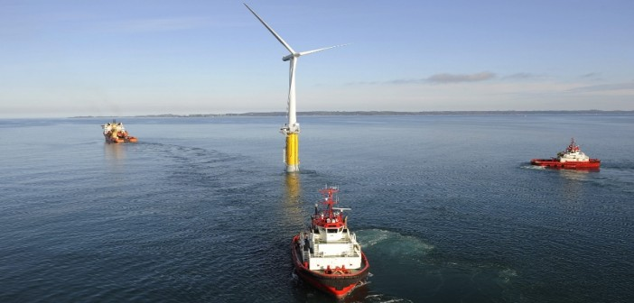 Statoil's experimental Hywind floating turbine under tow. Statoil photo.