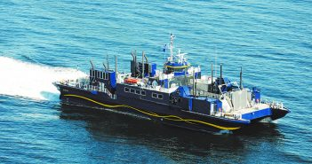 The one-of-a-kind landing craft Susitna will serve in disaster relief for the Philippine Red Cross. Alaska Ship & Drydock (Vigor Alaska) photo.