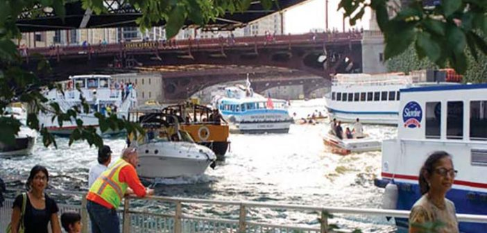 In the summer, the Chicago River is clogged with a mix of recreational boats, kayakers and commercial vessels. Wendella Sightseeing photo.