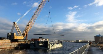 Construction started Jan. 25 on the New Yory Citywide Ferry landing at Rockaway. NYEDC photo.