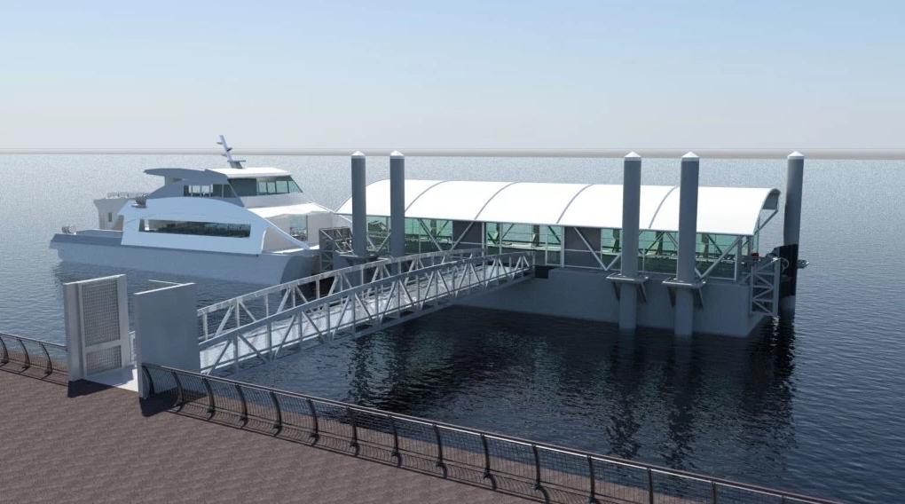 A rendering of the New York Citywide Ferry's Rockaway Landing.