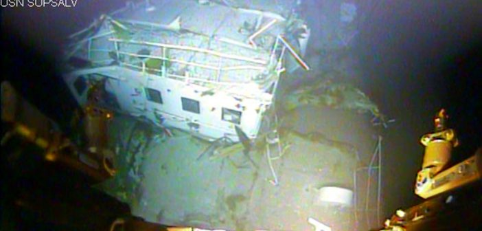 A close-up view of the El Faro's navigation bridge taken by the Navy ROV CURV-21. NTSB photo.