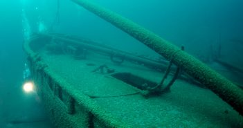 Originally built as the Nancy Dousman in 1832, the schooner Gallinipper, which lies in Lake Michigan, is Wisconsin's oldest shipwreck discovered to date. Wisconsin Historical Society Photo.