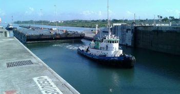 The tugboat Hollywood enters the Aguas Clara lock on the Panama Canal. TradeWinds Towing photo.