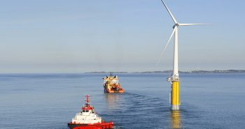 A Statoil floating wind turbine off the Norwegian island of Karmøy. Øyvind Hagen/ Statoil photo.