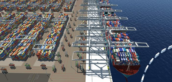 Conceptual rendering of berths at the proposed Jasper Ocean Terminal. Moffatt and Nichol image via USACE.