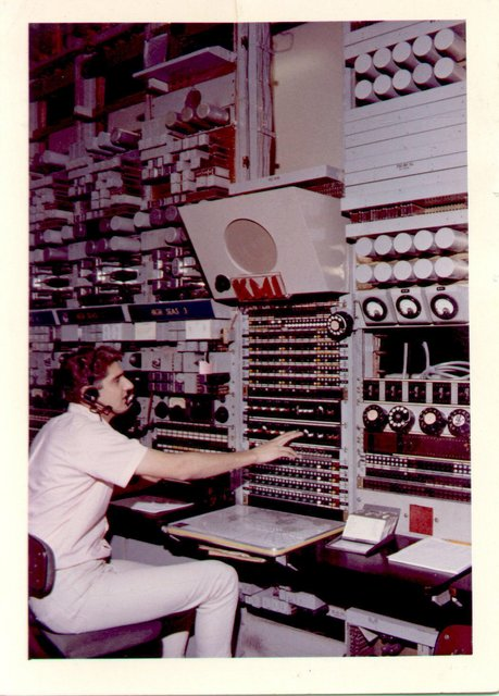 An operator at radio station KMI in California, 1966. Maritime Radio Historical Society photo.