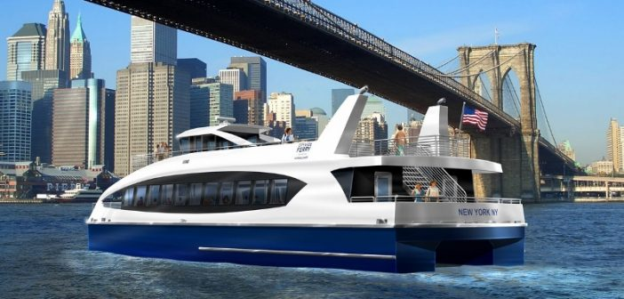 Rendering of a Citywide Ferry vessel on New York's East River. Citywide Ferry image.