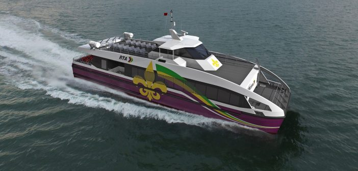Rendering of the 105' 149-passenger aluminum catamaran vessel that Metal Shark will produce under a two-boat contract for The New Orleans Regional Transit Authority. Metal Shark photo.