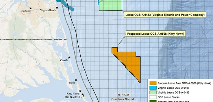 A map shows the wind energy area for lease offshore Kitty Hawk, N.C. BOEM image.