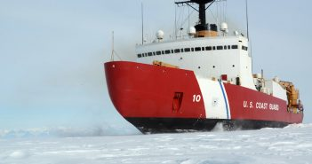 The Coast Guard cutter Polar Star, with 75,000 hp and its 13,500-ton weight, broke through Antarctic ice en route to the National Science Foundation's McMurdo Station. USCG photo.