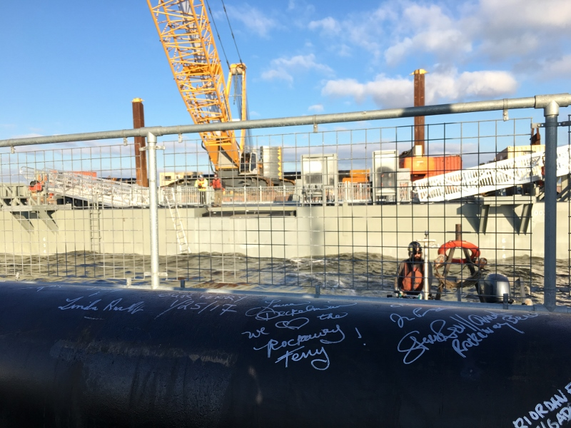 A signed piling for the Citywide Ferry Rockaway Landing. NYEDC photo.