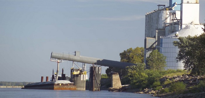 A barge is loaded with soybeans. United Soybean Board photo.
