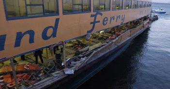 The outside lower level of the Staten Island Ferry Andrew J. Barberi after it struck a pier killing ten people Oct. 15, 2003. USCG photo.
