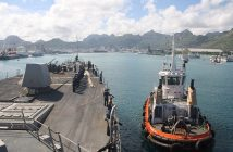 The guided-missile destroyer Nitze arrives for a scheduled port visit at Port Louis, Mauritius, in 2014. U.S. Navy photo.