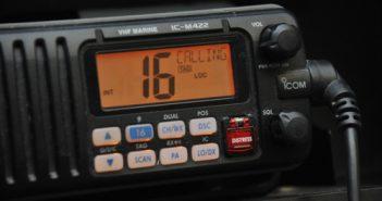 A digital selective calling VHF-FM marine-band radio. Coast Guard photo.