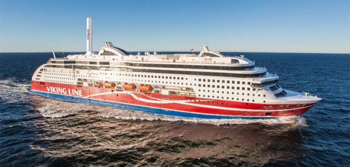 A rendering of the Viking Grace with one 24x4m Norsepower Rotor Sail. Norsepower photo.