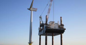 A wind turbine under construction. Siemens photo.