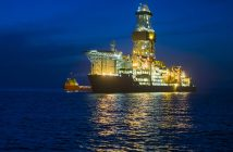 An offshore service vessel alongside a drillship in the Gulf of Mexico. BP photo.