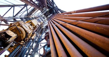 A rig's derrick from below. BP photo.
