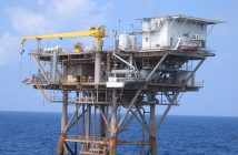 An oil platform in the Gulf of Mexico. NOAA photo.