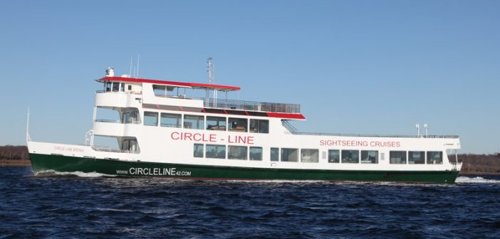 The first of three new sightseeing vessels for Circle Line Sightseeing Cruises. Gladding-Hearn photo.