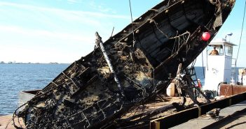 A vessel salvaged from a Louisiana waterway following Hurricanes Katrina and Rita. USCG photo.