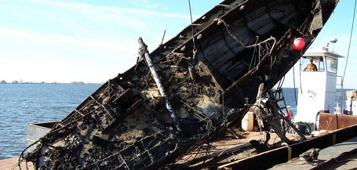 A vessel salvaged from a Louisiana waterway following Hurricanes Katrina and Rita. USCG photo.