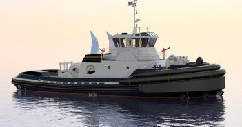A rendering of a 6,770-hp, Jensen Maritime-designed tractor tug under construction for Baydelta Maritime. Jensen Maritime photo.