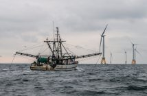The fishing boat Virginia Marise from Point Judith, R.I., near the Block Island Wind Farm. Deepwater Wind photo.