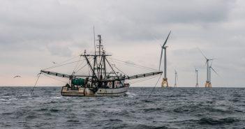 The fishing boat Virginia Marise from Point Judith, R.I., near the Block Island Wind Farm. Deepwater Wind photo.