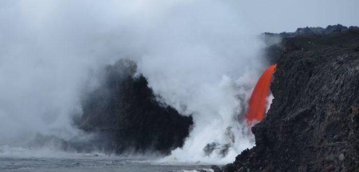 Kamokuna ocean entry of lava from Hawaii's Kilauea volcano. USGS photo.
