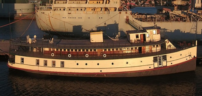 The former Ellis Island ferry Yankee is for sale for $1.25 million. Photo courtesy Franklin Ruttan Brokers.