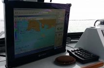 NOAA electronic navigational charts displayed on a wheelhouse monitor. NOAA photo.