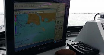 NOAA electronic navigational charts displayed on a wheelhouse monitor. NOAA photo.