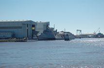"Austal USA's aluminum trimaran littoral combat ship measures 421'6""'x103.7'. Ken Hocke photo."