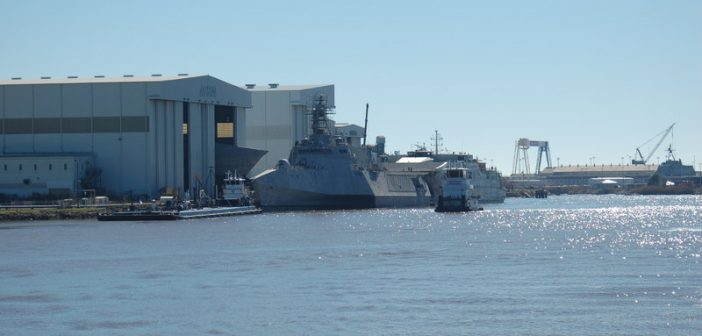 "Austal USA's aluminum trimaran littoral combat ship measures 421'6""'x103.7'. Ken Hocke photo."