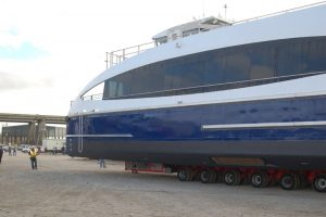 New ferry crawls across Metal Shark's Franklin, La., shipyard. Ken Hocke photo