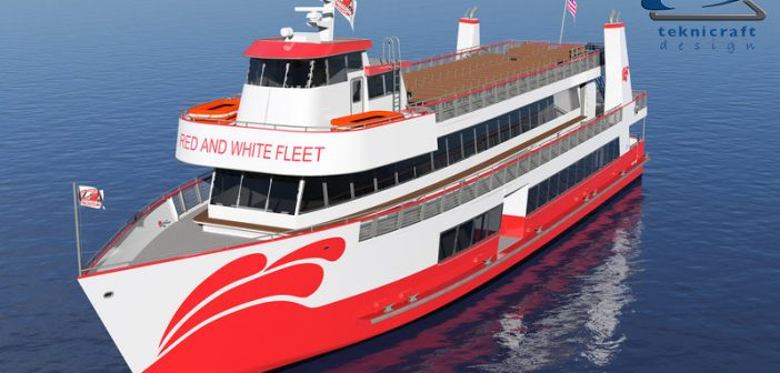 The new vessel will be the first aluminum-hulled, lithium-ion battery-electric hybrid vessel built from the keel up under USCG Subchapter K regulations. All American Marine image.