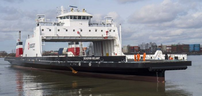 The second of two LNG-battery hybrid cargo ferries for Seaspan in British Columbia. Seaspan Ferries photo.