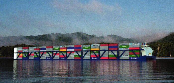 A rendering of American Patriot Holdings' inland container vessel design. APH photo.