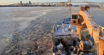 The Coast Guard cutter Alder breaking ice at Duluth at the start of the 2009-2010 winter season. Coast Guard photo.