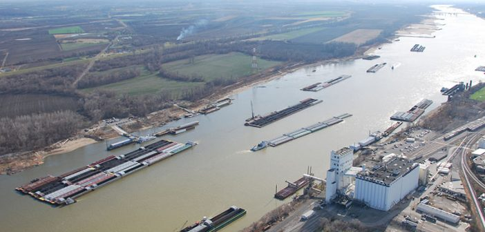Barges transit the Mississippi River near St. Louis in 2012. USACE photo.
